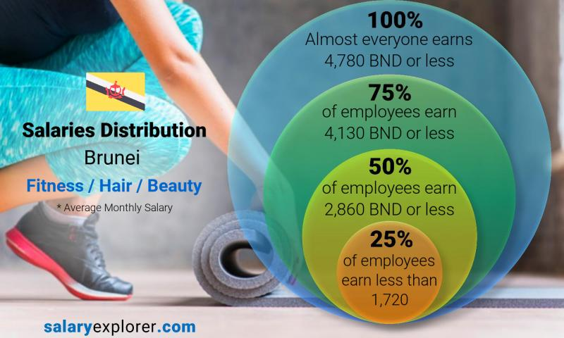 Median and salary distribution monthly Brunei Fitness / Hair / Beauty
