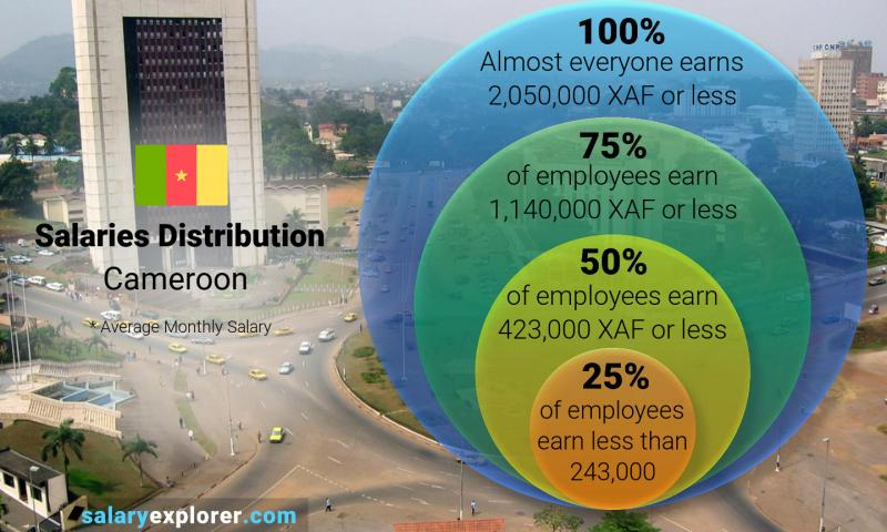 Median and salary distribution monthly Cameroon