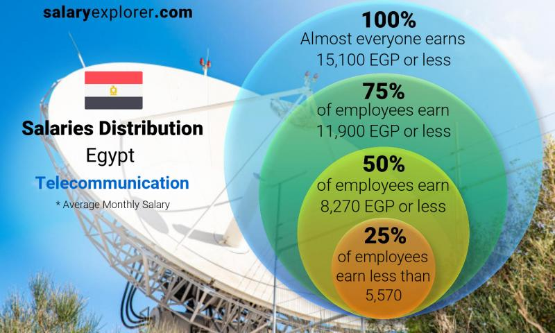 Median and salary distribution monthly Egypt Telecommunication