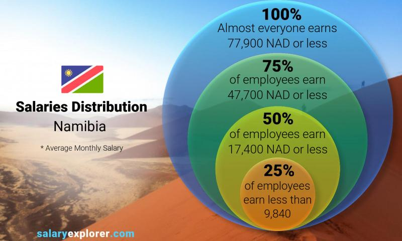 Median and salary distribution monthly Namibia