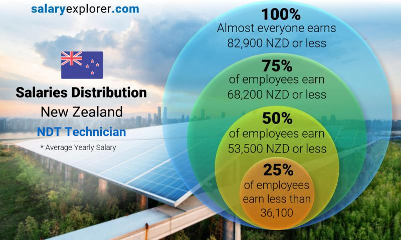 Median and salary distribution yearly New Zealand NDT Technician