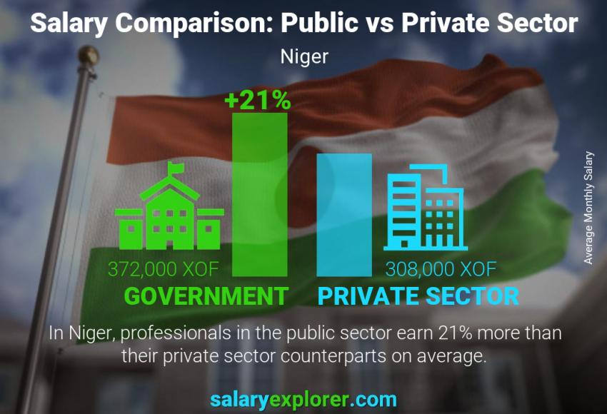 Public vs private sector salaries monthly Niger
