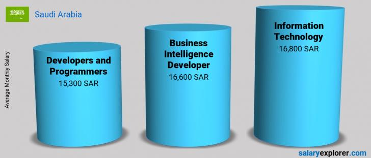Salary Comparison Between Business Intelligence Developer and Information Technology monthly Saudi Arabia