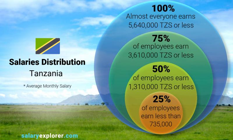 Median and salary distribution monthly Tanzania
