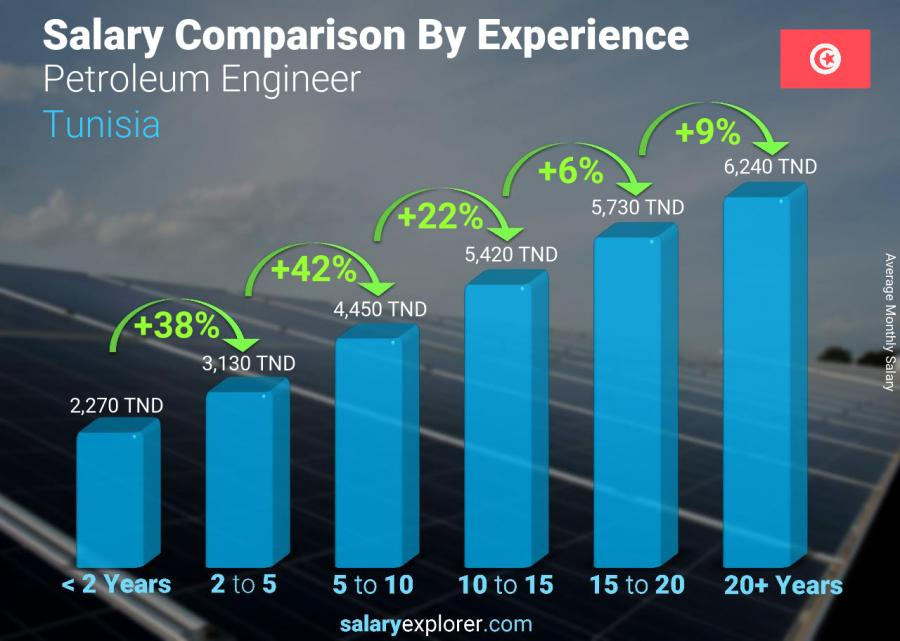 Salary comparison by years of experience monthly Tunisia Petroleum Engineer
