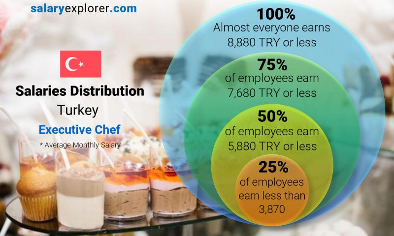 Median and salary distribution monthly Turkey Executive Chef