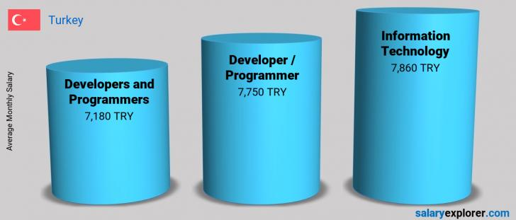Salary Comparison Between Developer / Programmer and Information Technology monthly Turkey