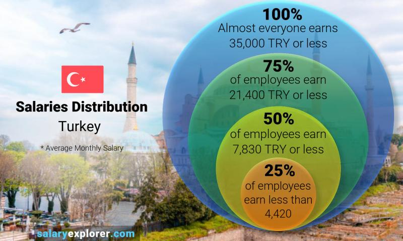 Median and salary distribution monthly Turkey