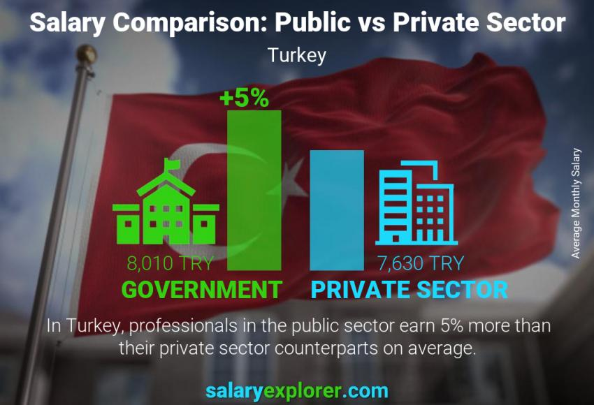 Public vs private sector salaries monthly Turkey
