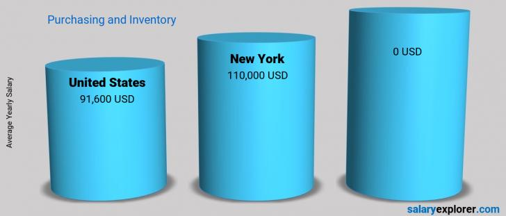 Salary Comparison Between New York and United States yearly Purchasing and Inventory