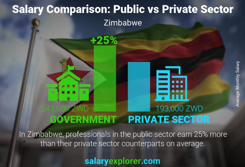 Public vs private sector salaries monthly Zimbabwe